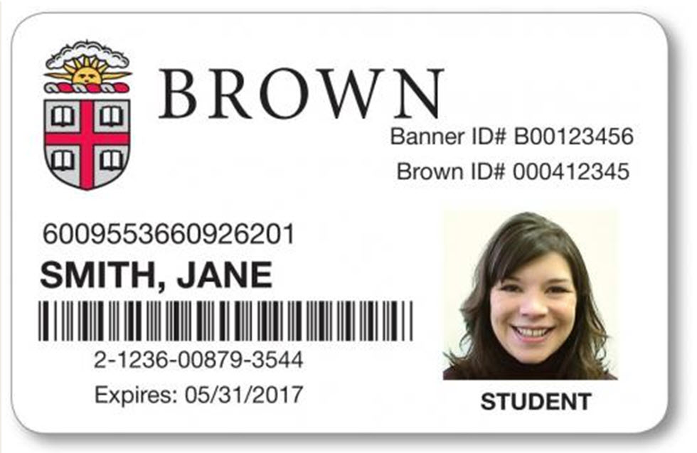 Image fo the front of a Brown ID card, displaying the building access code: 6009553660926201